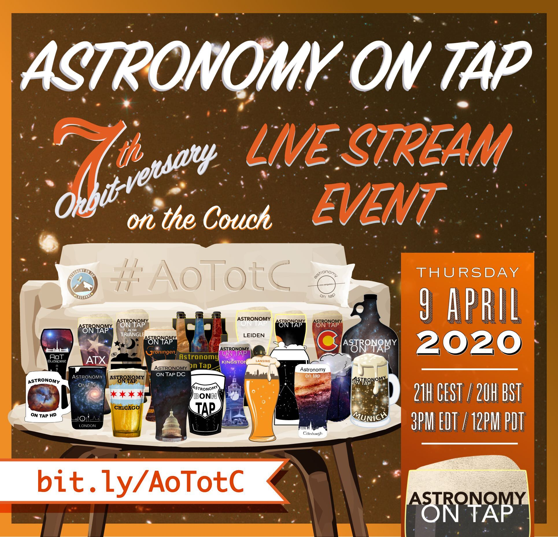 Astronomy on Tap on the Couch flyer